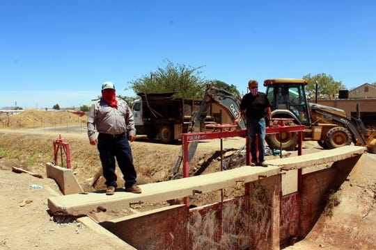 Elephant Butte Irrigation District Treasurer-Manager Gary Esslinger and Irrigations Systems Director James Narvaez have been inspecting irrigation canals to ensure all is ready.