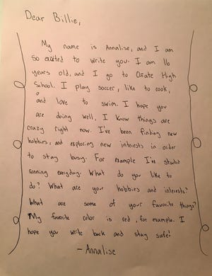 Annalise's letter to Billie, a resident of Haciendas at Grace Village