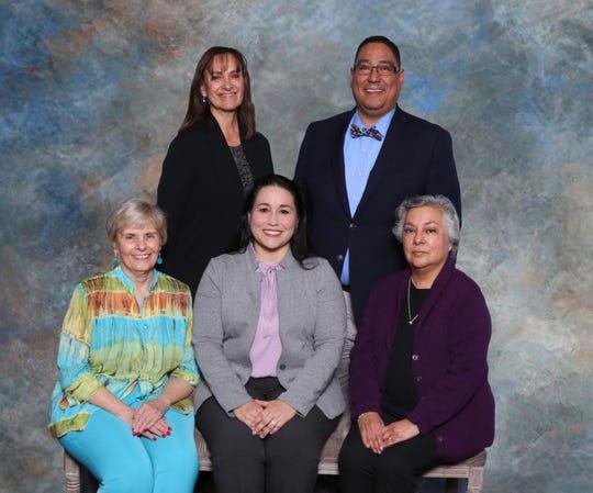 Las Cruces Public Schools Board of Education. Pictured left to right are Carol Cooper, Terrie Dallman, Teresa Tenorio, Ray Jaramillo and Maria Flores.