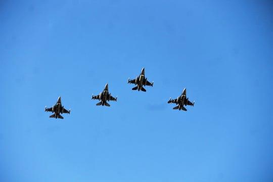 F-16s flyover Tiger Stadium in Alamogordo May 15, 2020