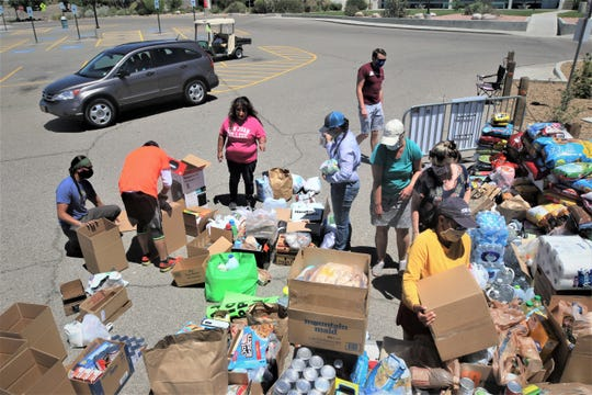 Nearly three dozen volunteers worked on the San Juan College donation drive for Navajo Nation residents, which came to an end on May 16, 2020, on the college campus in Farmington.
