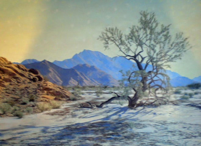 """Original tinted photographic painting entitled """"Broken Ranges"""" serves as the cover of the new book on Stephen Willard, """"Pursuit of the Purple Shadow."""""""