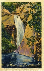 An undated postcard of Tahquitz Falls produced from a Willard photograph.
