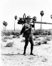 Stephen Willard is seen here with his equipment in the middle of the desert.