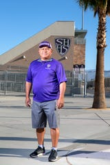 Alex Esquibel is the new Shadow Hills High School head football coach. He is photographed at the school in Indio, Calif., on Friday, May 15, 2020.