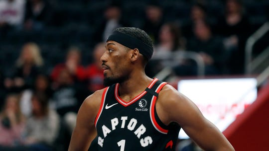 Toronto Raptors forward Paul Watson waits on the free throw during the second half of an NBA basketball game against the Detroit Pistons, Friday, Jan. 31, 2020, in Detroit. (AP Photo/Carlos Osorio)