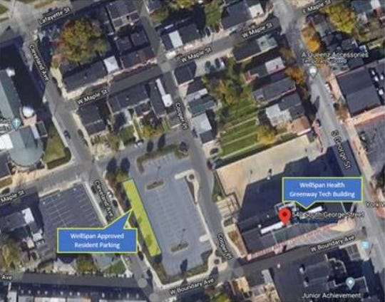 This aerial photo shows where community members can park during testing hours when part of South George Street will be unavailable.