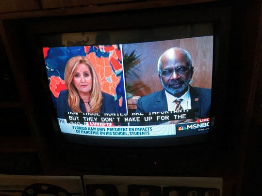 """Florida A&M University President Larry Robinson talks with MSNBC host Alex Witt Saturday during a segment feature on """"The Class of COVID-19"""""""