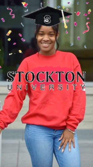 Zytayia Mitchell-Wyman of Somers Point, a member of the Class of 2020 at Stockton Universityand the recipient ofa bachelor of fine arts in visual arts, shows off aconfetti and cap GIF that she and her classmates created as part of university-themed project in a design for community partners class.