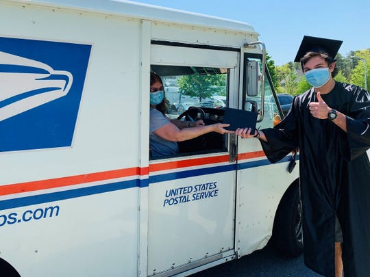 Since Stockton University held an eCommencement ceremony on May 15, Zach Walters of Barnegat, a member of Stockton University's Class of 2020, accepted his degree from his local mail carrier instead of from the university president.