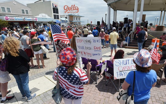 A Rally to Re-Open Rehoboth Beach's Boardwalk and Beach was held on Saturday May 16th at the Bandstand in Downtown Rehoboth Beach with approx. 200 protesters in attendance.