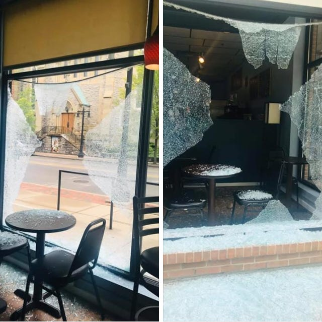 The owners of DeSales Cafe in Walnut Hills received an unexpected surprise last weekend after a large rock broke a window.