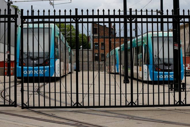 The Cincinnati Bell Connector streetcar remains parked at the maintenance facility in the Over-the-Rhine neighborhood of Cincinnati on Sunday, May 17, 2020.