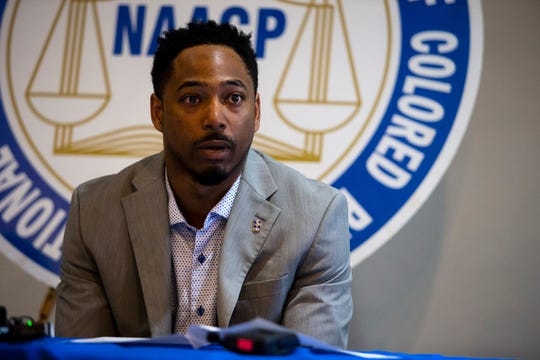 Kameron Middlebrooks, president of the NAACP's Des Moines chapter, speaks to the press on Sunday, May 17, 2020, about the assault of DarQuan Jones in Des Moines. Police have not yet determined a motive to the attack, but the victim says at least one suspect used racist slurs.