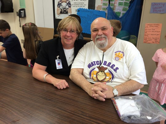 """Wyandotte Public Schools Superintendent Catherine Cost (left) said Mayor Joe Peterson (right) """"has given back to our school district more than I can even put into words."""""""