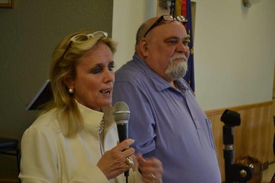 Peterson (right) with Michigan Congresswoman Debbie Dingell.