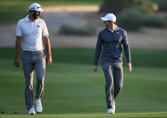 Dustin Johnson left The Players Championship two months ago and didn't play golf again until Sunday. He figured his game needed to be in shape for Rory McIlroy, his partner, in a charity match Sunday at Seminole that will be live golf's return to television.