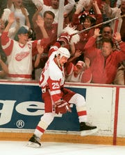 Darren McCarty nets the clincher as the Red Wings sweep the Flyers to win the Stanley Cup in 1997.