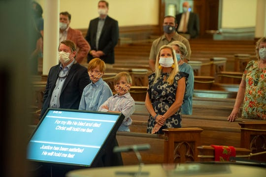 The Ward family attends the contemporary service at First Presbyterian on Sunday,  May 17, 2020, during the first in-person worship at the church in Greenville, South Carolina, since the COVID-19 outbreak in early March.