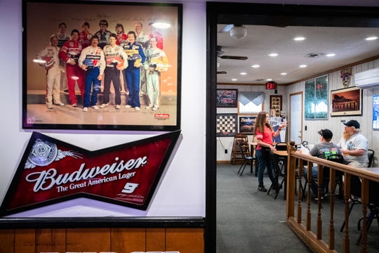 Patrons inside the Raceway Grill in Darlington outside the Darlington Raceway Sunday, May 17, 2020 before the start of the Real Heroes 400, Sunday, May 17, 2020, the first race since the season was postponed due to the coronavirus epidemic