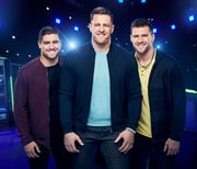 "NFL brothers, from left, Derek, J.J. and T.J. Watt are hosts of ""Ultimate Tag,"" a competition game show on Fox. The show premieres Wednesday, May 20."