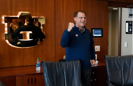 Auburn coach Gus Malzahn reacts to a commitment on National Signing Day on Wednesday, Feb. 6, 2019 in Auburn, Ala.