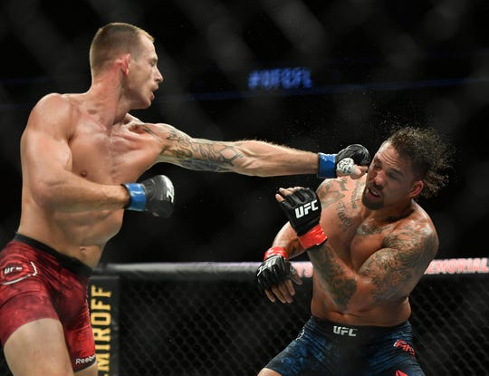 Krzysztof Jotko, left, fights Eryk Anders  during UFC on ESPN at VyStar Veterans Memorial Arena on Saturday, May 16, 2020 in Jacksonville, Florida.