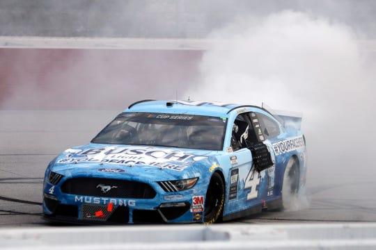 May 17, 2020, Darlington, SC, USA; NASCAR Cup Series driver Kevin Harvick (4) celebrates winning the Real Heroes 400 at Darlington Raceway.