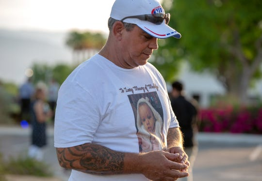 Michael Grome, Madalyn Slater's grandfather, speaks to reporters about his one-year-old granddaughter who was killed recently prior to a drive-thru memorial held at Southwest Church in Indian Wells, Calif., on Saturday, May 16, 2020.