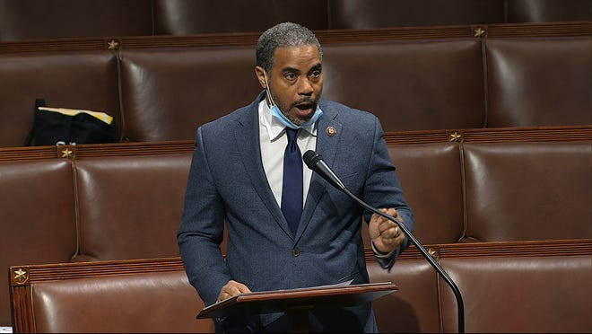 Rep. Steven Horsford, D-Nev., speaks on the floor of the House of Representatives at the U.S. Capitol in Washington on April 23. Horsford  acknowledged he had an extramarital affair with a woman who said the on-and-off relationship began in 2009 before ending last September. A spokeswoman for Horsford indicated he does not plan to resign, as at least one Republican opponent suggested.