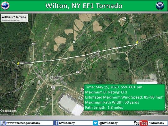Track of tornado in Saratoga County.
