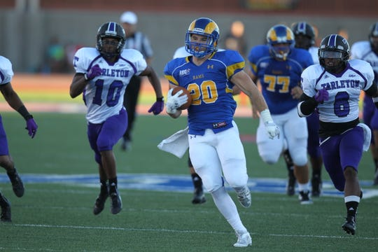 Angelo State University running back Blake Smith breaks away for a long run against Tarleton State on Sept. 21, 2013.