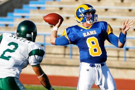 Angelo State University's Josh Neiswander prepares to throw a pass against Eastern New Mexico at San Angelo Stadium on Sept. 4, 2010.