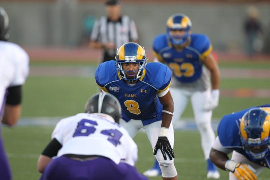 Angelo State University defensive back Blair Smith waits for the play to begin against Tarleton State on Sept. 21, 2013.