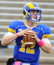 Angelo State's Blake Hamblin warms up before a game against West Texas A&M on Oct. 6, 2012.