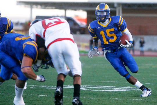 Angelo State's C. J. Akins moves the ball down the field during the Rams' game against Incarnate Word on Oct. 23, 2010.