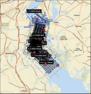 A visual representation of the Coast Guard search of the Delaware River. The search was suspended Saturday night, 18 hours after it started.