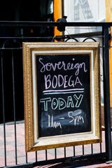 Sovereign Remedies in downtown Asheville May 14, 2020. The cocktail bar has shifted to a bodega due to COVID-19 shutdowns.