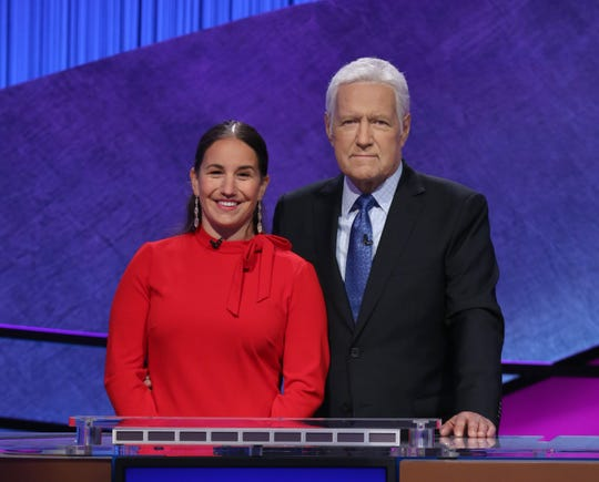 """7th grade science teacher Amanda Baltimore, shown with 'Jeopardy!' host Alex Trebek, will compete in the 2020 """"Jeopardy!"""" Teachers Tournament starting May 25."""