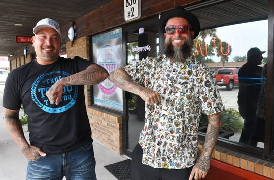 """In 2014, Space Coast tattoo artists Jayvo Scott (left) and Mark Longenecker competed in Season 5 of """"Ink Master,"""" the Spike TV tattoo reality competition."""