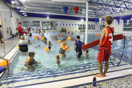 Events like this one from 2017 at the Bayside YMCA in Barrington, Rhode Island may not happen this summer, but many are hoping to buy their own backyard pool in which to cool off.