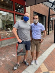 Tom Carroll and Bob Vanheeks made their first stop of the day into Church Street's Homeport as stores open in Vermont. May 18, 2020.