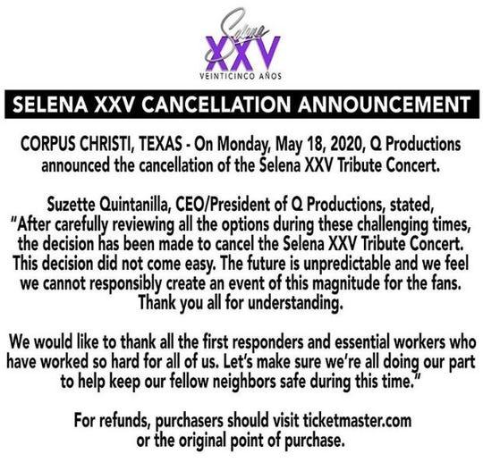 Selena XXV is canceled.