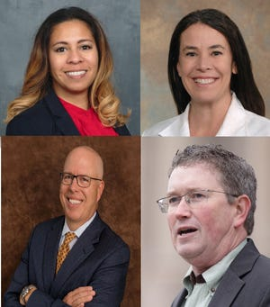 Two Democratic candidates (top left Shannon Fabert, top right Alexandra Owensby) and two Republican candidates (bottom left Todd McMurtry, bottom right incumbent Thomas Massie) will compete in primary elections June 23 for the Kentucky's 4th Congressional District.  .