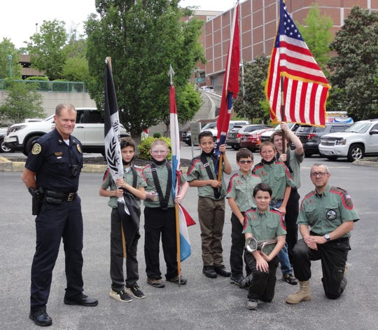 Miles Foster, Clayton Bollinger, Gareth Perez, Abram Fortson, Will Wilford, Corbin Watson, and Curtis Watson, members of the Trail Life USA Troop 0101.