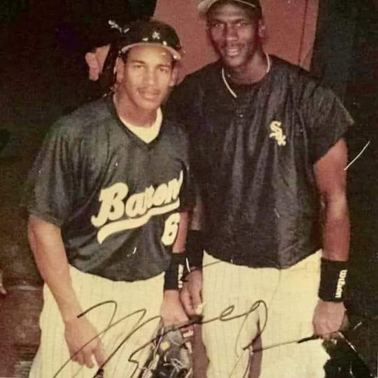 Rogelio Nunez, left, and Michael Jordan were teammates during the 1994 season on the Birmingham Barons, the Double-A affiliate of the Chicago White Sox.
