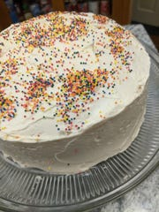 A cake with sprinkles.