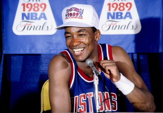 Pistons guard Isiah Thomas speaks with the media in a postgame news conference after defeating the Lakers in Game 4 of the NBA Finals to win the championship at The Forum in Los Angeles, June 13, 1989.