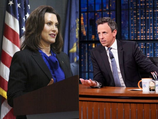 Gov. Gretchen Whitmer of Michigan and NBC's 'Late Night' host Seth Meyers.