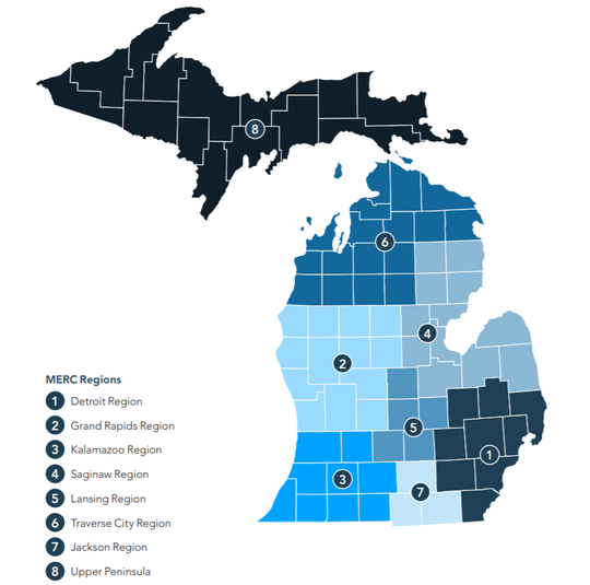 Michigan's 8 regions as part of the MI Safe Start plan to reopen the state's economy, released by Gov. Gretchen Whitmer on May 7, 2020.